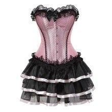 Sexy ren nịt đối với phụ nữ cộng với kích thước trang phục overbust cổ điển corset dress set tutu cái yếm của côn trùng victoria corset váy Màu Hồng