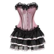 סקסי תחרה מחוכים לנשים בתוספת גודל תלבושות overbust בציר מחוך שמלת סט טוטו מחוך ויקטוריאני מחוך חצאית ורוד