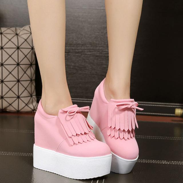 Cuña tacones altos zapatos de mujer Plataforma Talones de las señoras Zapatos chaussure femme mujeres escuela valentine zapatos de Lona Zapatos Casuales