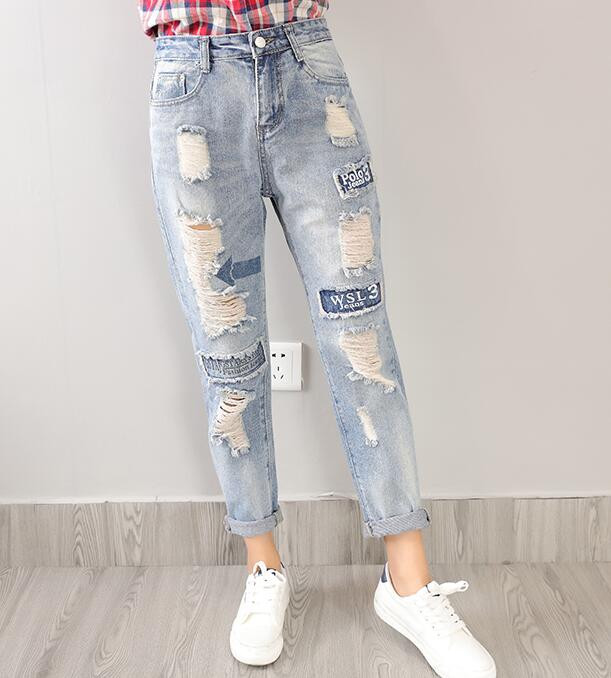2017 Newest Hot Womens/Ladies/Girls Boyfriend Trousers Jeans - Blue Wash Ripped Holes And Letters Printed Denim Jeans