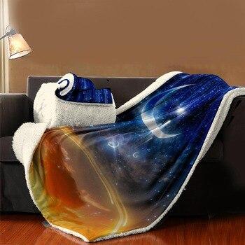 3D Galaxy Stars Printed Blanket for Adults Warm Wearable Fleece Woman Soft Throw Blanket Microfiber