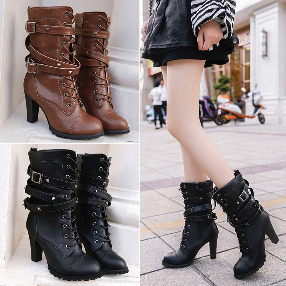 shoes Boots Women Ladies Classics Rivet Belt High Heels Mid-Calf Boots Shoes Martin Motorcycle Zip boots women 2018Oct31 8