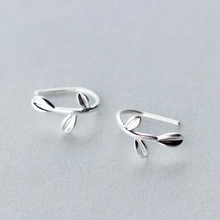 HFYK 925 Sterling Silver Earrings 2019 Fashion Gold Leaf Stud For Women Small pendientes mujer brincos