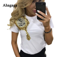 Ahagaga 2017 Spring Summer T Shirt Women Fashion Sequin Mirror Short Sleeve Women T Shirts O