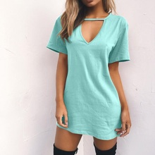Summer Casual Sexy Women T-shirts Short Sleeve Deep V-neck Long Shirt Plus Size S-3XL Tees Women's Clothing Cotton Female Tops s 3xl solid color t shirt v neck tops summer women s long sleeve black white harajuku t shirt casual tee shirts female plus size