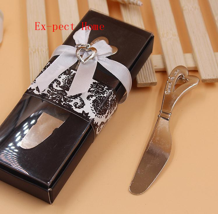 100PCS Spread the Love heart Butter <font><b>Knife</b></font> <font><b>cheese</b></font> spreader in black <font><b>gift</b></font> box stainless steel kitchen tableware <font><b>wedding</b></font> <font><b>favor</b></font> image