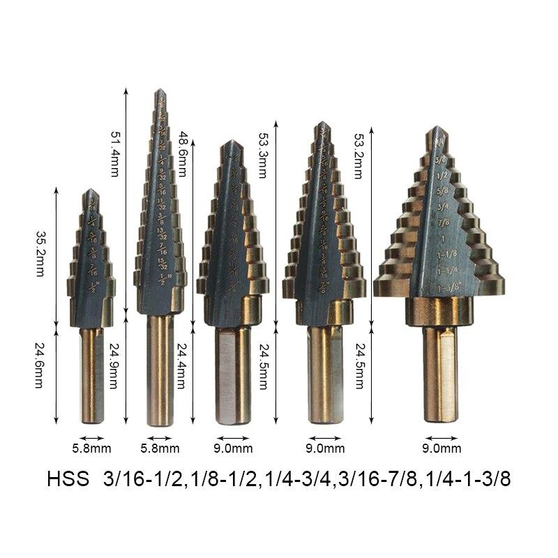 Set Hss Cobalt Multiple Hole 50 Sizes Step Drill Bit Set to Use PRO 5pcs