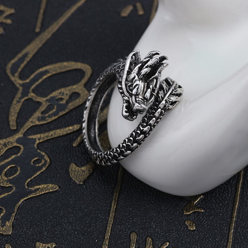 Fashion Retro Animal Ring Men 39 s Gothic Punk Chinese Dragon Ring Female Hip Hop Silver Knight Men Cool Adjustable Size Jewelry in Rings from Jewelry amp Accessories