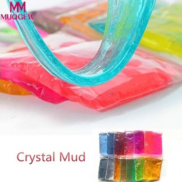 2018 Kleur willekeurige Klei Slime DIY Kristal Modder Play Transparante Magic Plasticine Kid Speelgoed polymeer klei pluizige plasticine stopverf