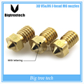 3D impressora 3D V6 & V5 J-bicos bico extrusora da Cabeça de bronze M6 0.2/0.25/0.3/0.4/0.5/0.6/0.8/1.0mm Para 1.75 fontes
