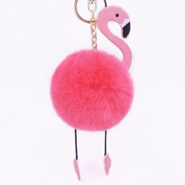 100 peças PU Flamingo Chaveiro Fofo Falso Bola de Pêlo de Coelho Mulheres Saco Anel Chave Do Carro Acessórios Presente Da Menina