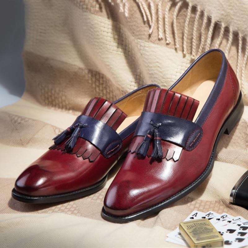 Phenkang mens scarpe di cuoio del cuoio genuino scarpe oxford per gli uomini pattini di vestito di lusso da sposa slipon scarpe francesine in pelle-in Scarpe da cerimonia da Scarpe su  Gruppo 1