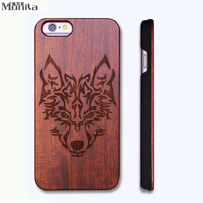 Monila Retro Wolf Real Handmade Wood Case For Iphone 5 5s