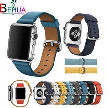 High quality Leather band for iWatch Series 1 2 3 Fashion Sport Strap Travel version band for apple smart watch 38mm 42mm Strap цена