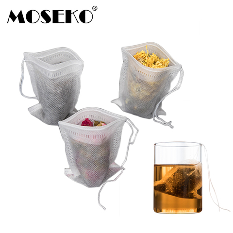 MOSEKO Tea bags 100Pcs/Lot 5.5 x 7CM Empty Tea Bags With String Heal Seal Filter Paper for Herb Loose Tea Pakistan