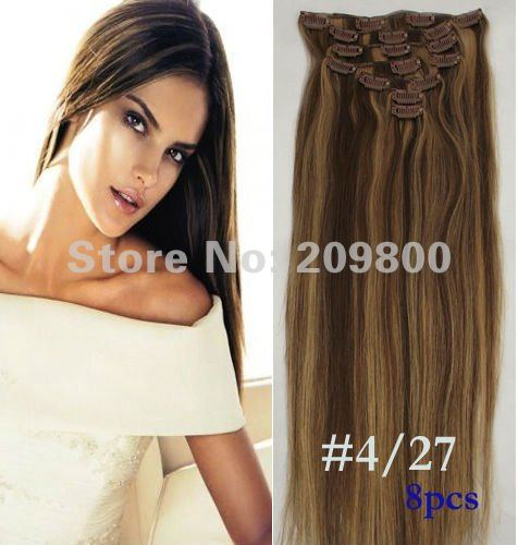"""1Set 20""""/22"""" 8pcs high quality Straight  Human hair extensions Clips in/on Extensions #4/27,100g with clips"""