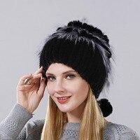 2017 Venta caliente conejo Pieles de animales flor mezcla forma Fox Pieles de animales Cap moda Invierno Caliente mujeres Knitting CAPS real Mink sombrero vertical tejer