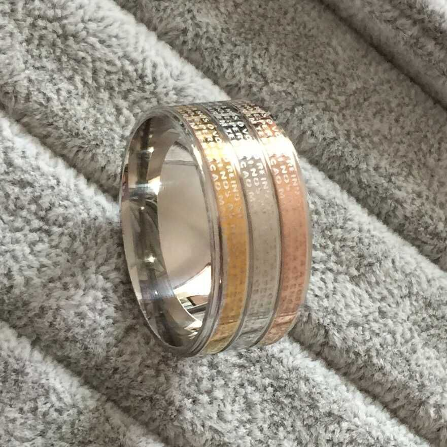 large 12mm width men women religious ring 18k gold silver jesus cross the lord39 - Large Wedding Rings