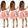 Kids Baby Girls summer Clothes Ruffle Leopard Shirt Tulle Tutu Party Dress