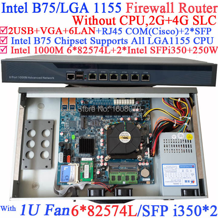routerboard 1U Network Firewall Router with Six 1000M 82574L Gigabit NIC two intel i350 SFP fiber ports NO CPU 2G RAM 4G SLC microtik ros 1u network router hardware with six 1000m 82574l gigabit nic two intel i350 sfp fiber ports no cpu 1g ram 4g slc