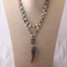 MOODPC фишион синий зеленый матовый Амазонит камни четки цепи Halsband кулон в виде бычьего рога ожерелье