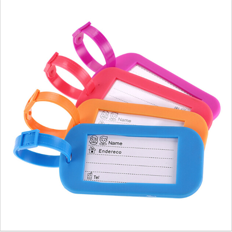 1PC New Fashion Luggage Tag Address ID Name Suitcase PVC Square Shape Baggage Label Tags Cute Travel Accessories