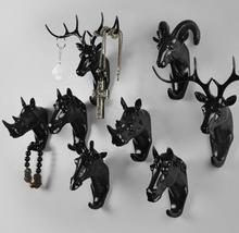 3style Creative deer head mannequin animal decorative hook clothes hanging three-dimensional porch key point bar 6PC/SET B698