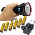 НЕБО РЭЙ КИНГ 14xT6 14 xCree XM-L T6 25000 Люмен 3-Mode LED Фонарик Факел Лампы большой мощности 6X18650 аккумулятор + Зарядное Устройство