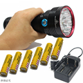 SKY RAY KING 14xT6 14xCree XM-L T6 25000 Lumens 3-Mode LED Flashlight Torch Lamp big power 6X18650 Battery+ Charger