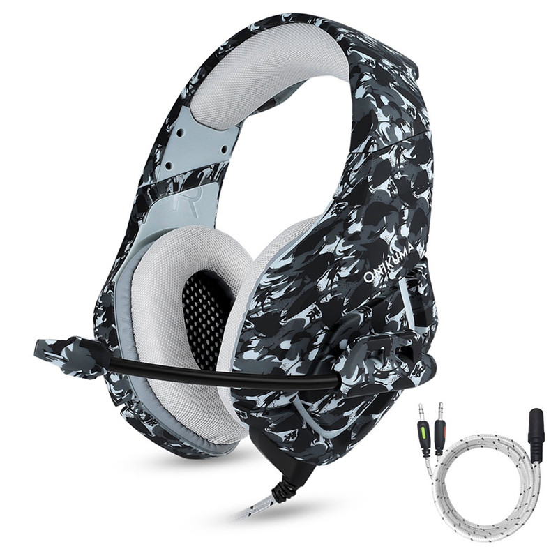 ONIKUMA K1 Camouflage PS4 Gaming Headset Bass Game Headphones Best Casque with Mic for PC Gamer Mobile Phone New Xbox One Tablet xiberia k5 best gaming headphones with microphone usb 7 1 sound 3 5mm heavy bass game headset for pc gamer ps4 xbox one phone