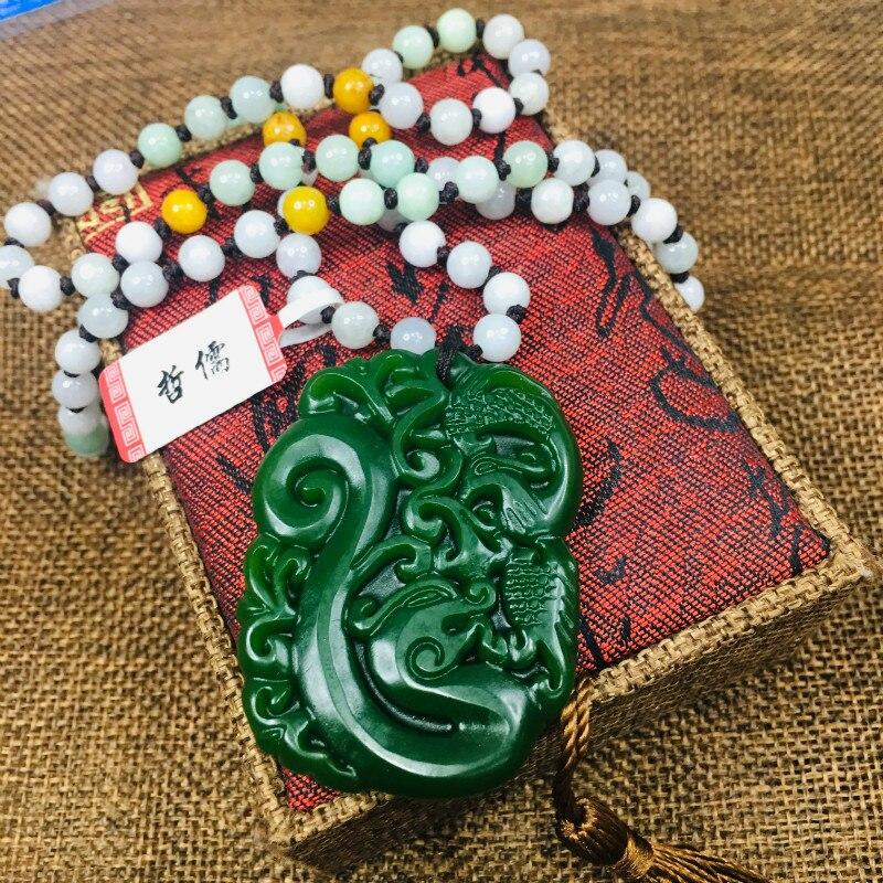Nouveau pendentif JADESt naturel sculpté dragon vert et pendentif phoenix avec chaîne de chandail à trois perles de couleur
