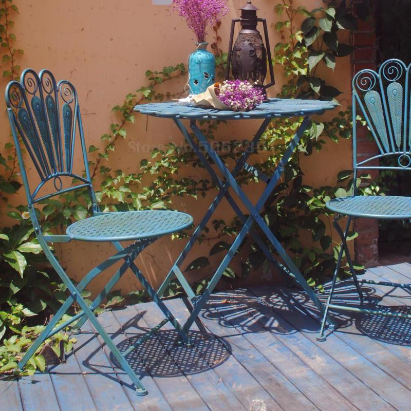 American Rural Iron Art Retro Outdoor Folding Table And Chair Suite Outdoor Courtyard Table And Chair Three-piece Garden Balcony