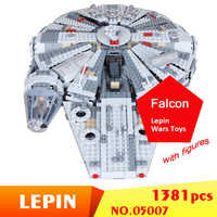 05007 1381Pcs Star Series Wars Millennium Falcon Force Awakening Kit Building Blocks Bricks Children Kids Lepin Wars Toys