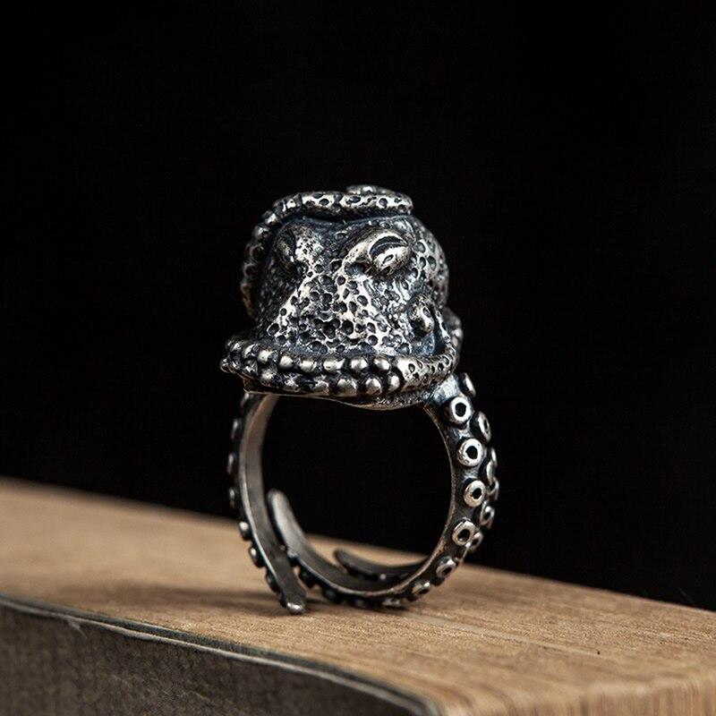 Rétro Punk gothique argent couleur poulpe anneaux prévenir allergie ouverture anneaux taille réglable homme femmes mode bijoux cadeau