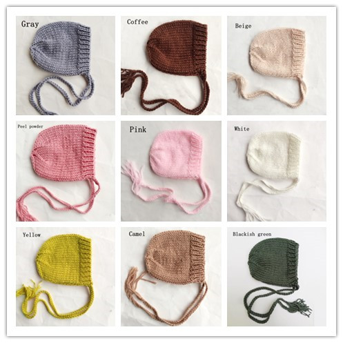 Fashion Hand knitted Baby Cap Photography Props,Cute Newborn Hat Baby Bonnet Beanie Newborn Fotografia 9 Colors baby shower gift