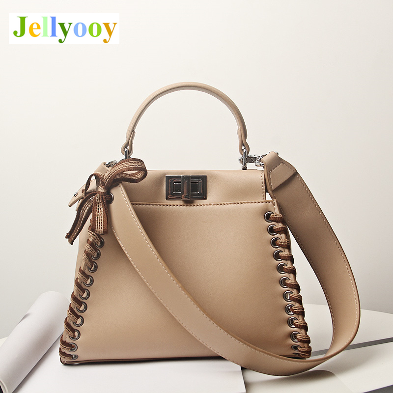 New Leather Peekaboo Bag 2018 Luxury Handbags Women Messenger Bags Designer High Quality Leg Bow Shoulder Bag Crossbody Tote Sac arnagar genuine leather luxury women messenger bags new designer handbags high quality lady tote bag crossbody bag for women page 1