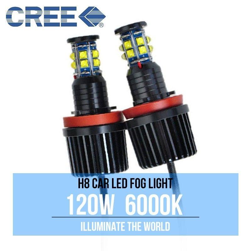 H8 Angel Eyes LED Lights Bulbs WHITE Halo Rings CREE Chips 120W Error Free For BMW F01 F02 F03 F04 E83 E70 E71 E89 X3 X5 X6 Z4