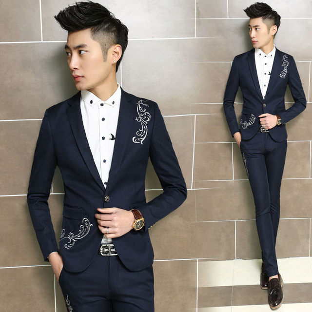 9cdac9bfcd5 free shipping fashion terno para casamento embroidery casual tuxedo men  suits Korean slim fit wedding dress