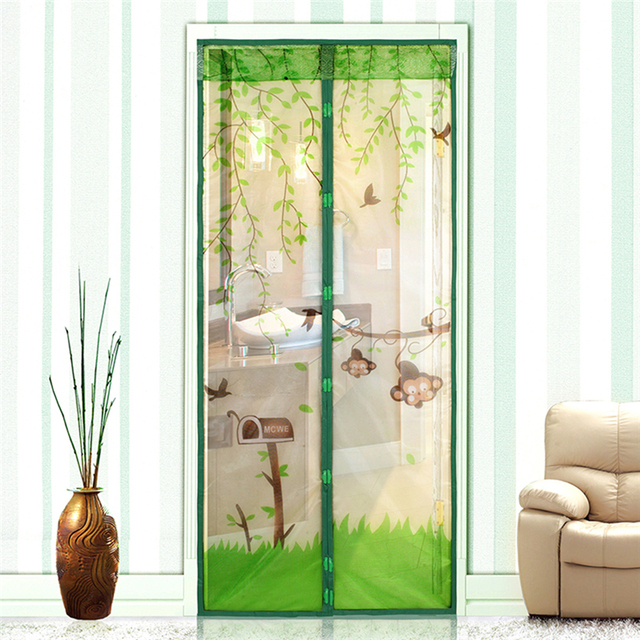 4 Color Curtains Monkey Anti Mosquito Magnetic Tulle Shower Curtain Automatic Closing Door Screen For Home & 4 Color Curtains Monkey Anti Mosquito Magnetic Tulle Shower Curtain ...