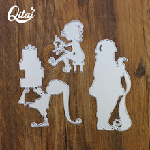Original QITAI 3pcs/pack Metal Cutting Dies DIY Old Man Child Decorations Story Writing Die Cutter home Decoration hot sale D183