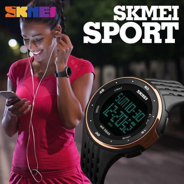 Популярные Брендовые спортивные часы Для женщин Стиль Водонепроницаемый LED Спортивный Военная Униформа Часы Для женщин S цифровые часы Reloj Para Hombre 2017 SKMEI новый