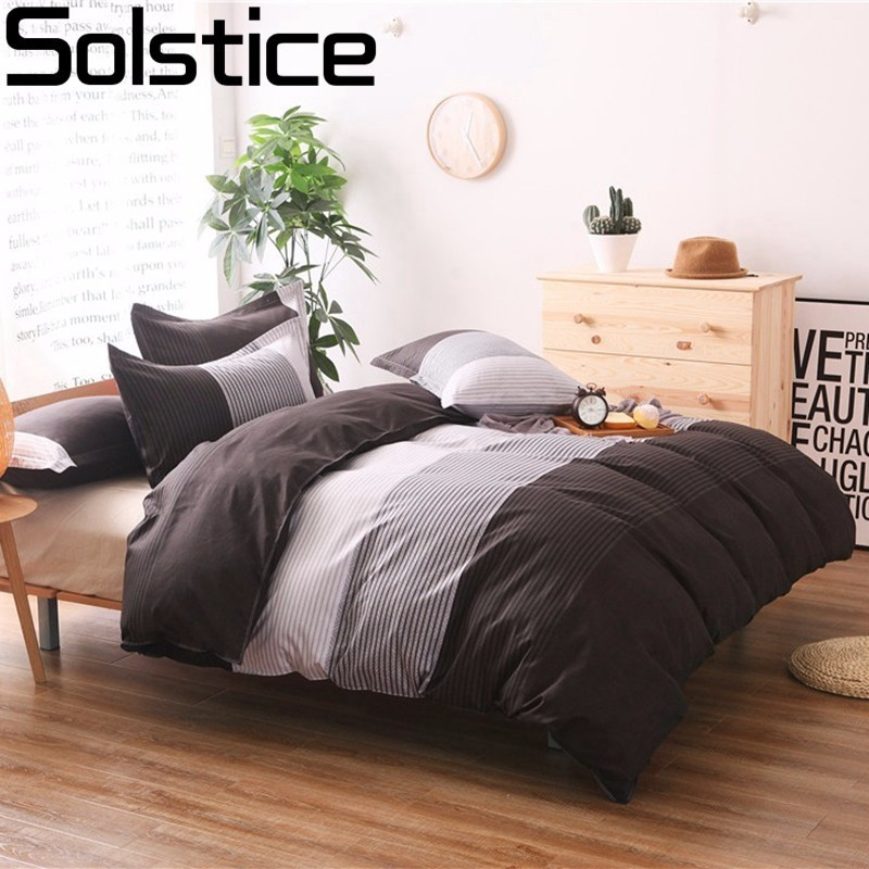 Solstice Japanese Simple Stripes Style Duvet Cover Set 3pcs Bed Set  Bed Linen Bedclothes Bedding Sets Twin Double Queen Size