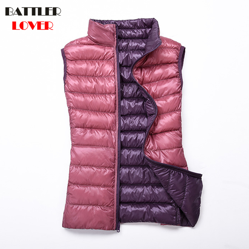 Double Wear Light Down Women Ultralight White Duck Down Sleeveless Parkas Female Jacket Ladies Wadded Coat Reversible Waistcoat