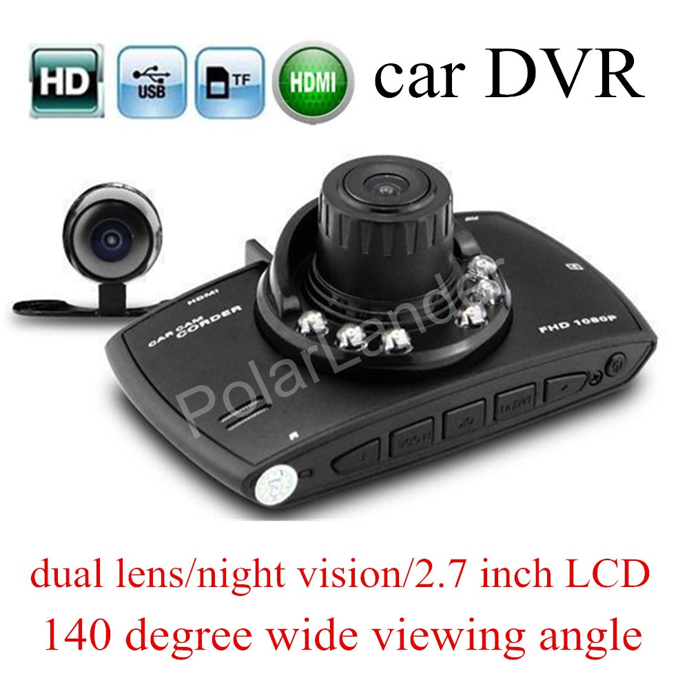 free shipping 2.7 inch LCD Allwinner F23 dual lens Car DVR G30 HD Car Camera Recorder Night Vision 140 degree wide viewing angle