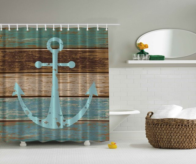Nautical Anchor Rustic Wood Shower Curtain Water Soap And Mildew Resistant