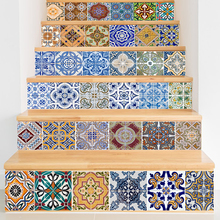 Abstract Tiles Pattern Stair Stickers Decals Kids Love Removable Waterproof Stairway Vinyl Stickers for Home Decor(China)
