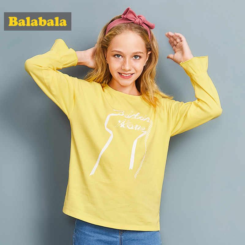 Balabala تي شيرت للفتيات الأطفال الملابس إلكتروني زين الاطفال الملابس والقمصان للشباب الربيع الفتيات قمم طويلة الأكمام