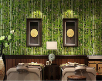 Beibehang Retro Restaurant Bamboo Forest Green Fresh Bamboo Wallpaper Living Room Tv Background Cafe Decorative 3D