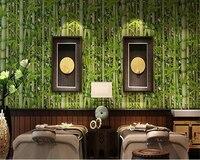 Beibehang Retro Restaurant Bamboo Forest Green Fresh Bamboo Wallpaper Living Room Tv Background Cafe Decorative 3D