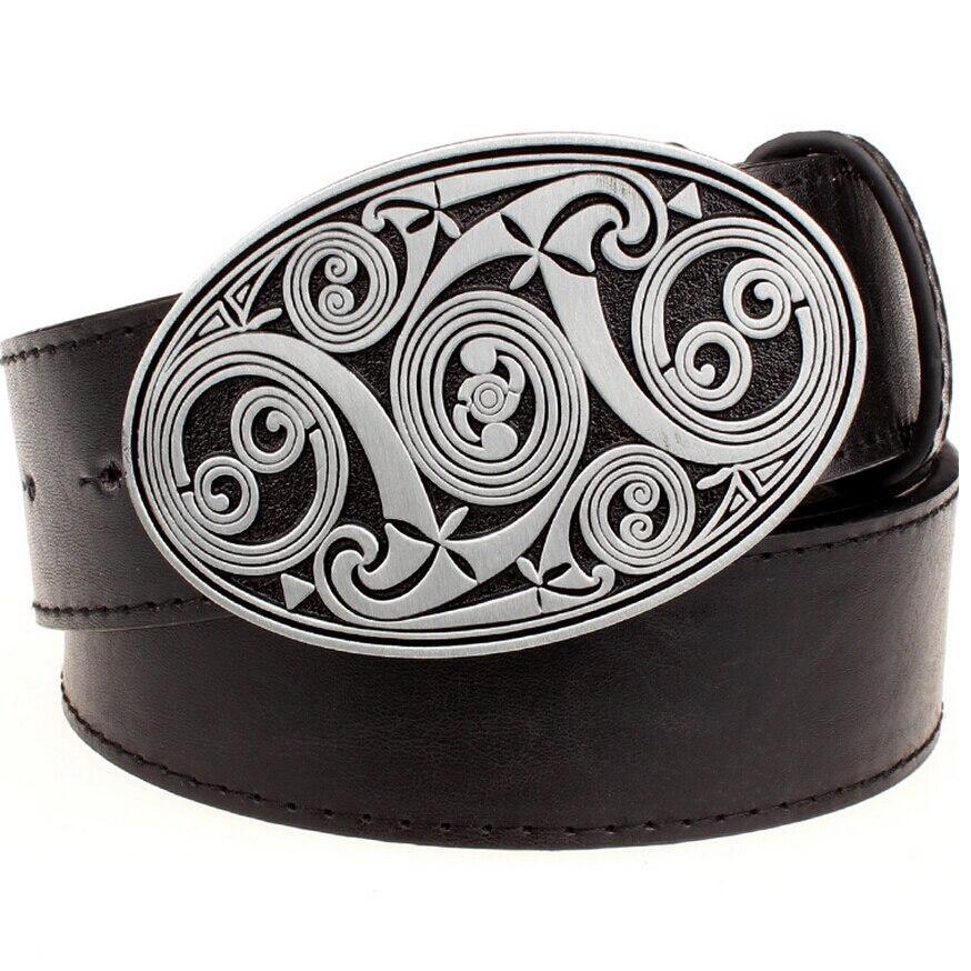 971cc80683 Los hombres de moda ronda swirl metal hebilla cinturones simple patrón  irregular estilo heavy metal cinturón